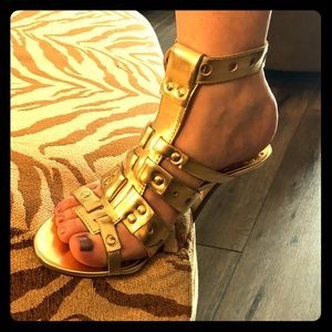 BCBGirls - Gold Leather and Stud Sandals